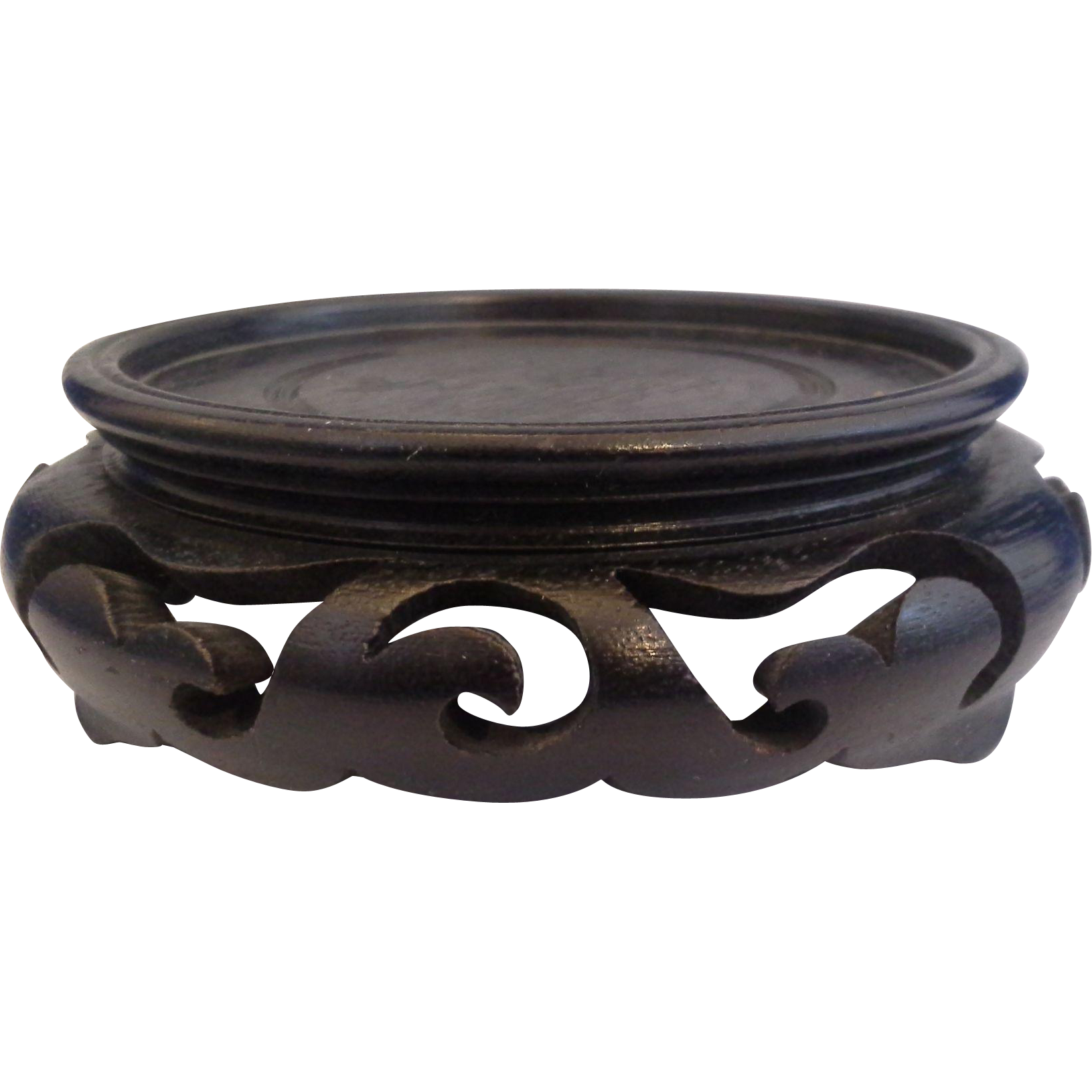 Carved Wooden Base 3 1/4 IN Display For Bowl or Vase