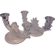 Fostoria Baroque Wheat Cutting Double Light Candle Holders Pair
