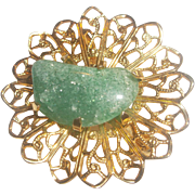 Green Stone Nugget Gold Tone Filigree Pin Brooch