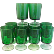 Luminarc France Emerald Green Clear Stem Foot Cavalier Water Goblets Footed Tumblers Glasses Set of 10