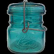 Ball Bicentennial Half Pint Green Teal Blue Glass Canning Jar Wire Bale 1976 Eagle