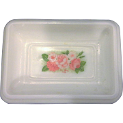 Avon Milk Glass Pink Roses Pedestal Soap Dish