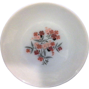 Primrose Dinner Plate Fire King Anchor Hocking Milk Glass Red Pink Flowers - Red Tag Sale Item