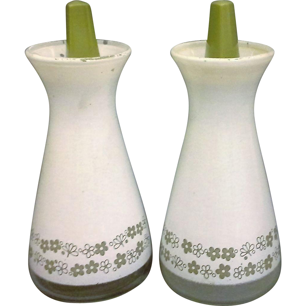 Pyrex Corelle Spring Blossom Crazy Daisy White Green Salt Pepper Shakers