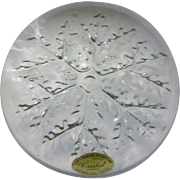 Avon Lead Crystal Snowflake Paperweight Domed Clear Glass - Red Tag Sale Item