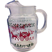 Anchor Hocking Red Green Stage Coach Christmas Decorated Small 40 Oz Pitcher Rare Size