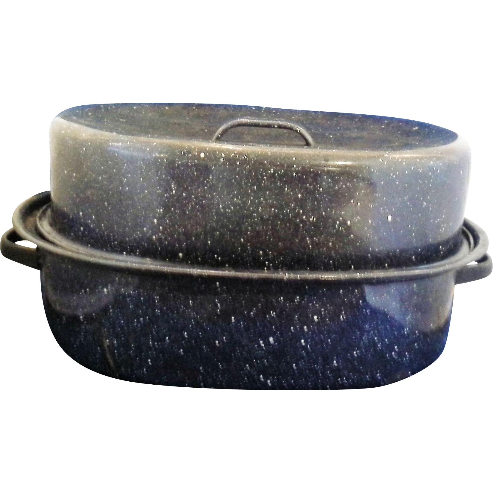 Cobalt Blue White Speckled Graniteware Roaster Roasting Pan 14 IN