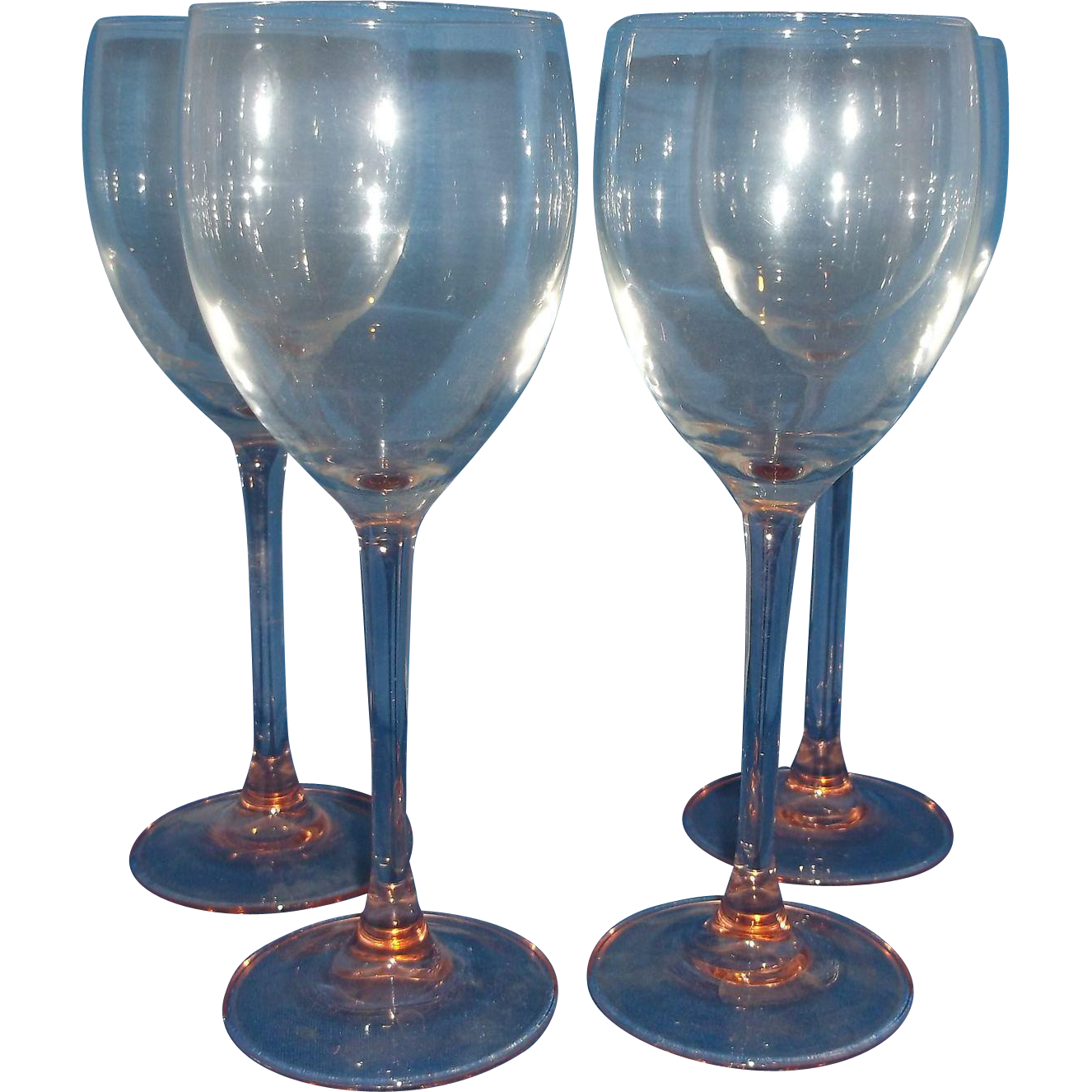 Luminarc Rose Pink Goblets Stems Set of 4 Arcoroc France Glass Claret Wine 7 3/4