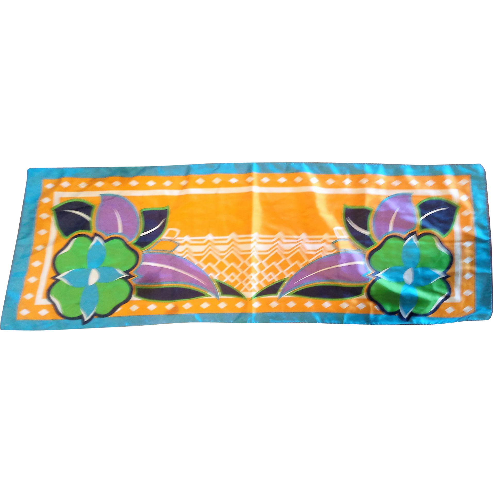 Bright Floral Polyester Oblong Scarf Blue Orange Green Purple