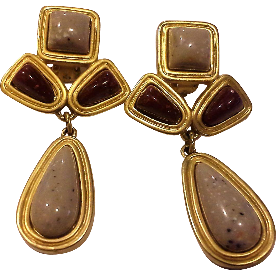 Avon Desert Sands Earrings Red Grey Speckled Plastic Nugget Cabs Gold Plated Clips