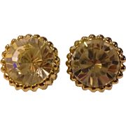Big Dramatic Clear Rhinestone Gold Tone Clip Earrings