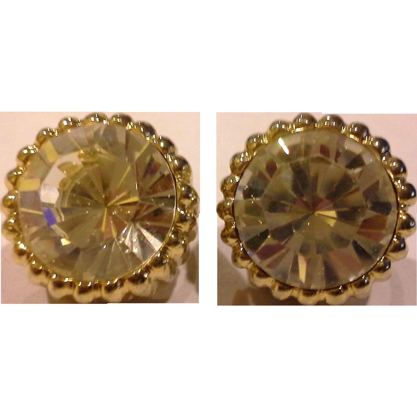 Big Dramatic Clear Rhinestone Gold Tone Clip Earrings