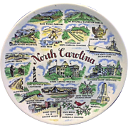 North Carolina Souvenir State Plate Colorful