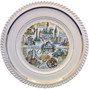 Ohio State Souvenir Plate Gadroon Rope Rim Gold Trim
