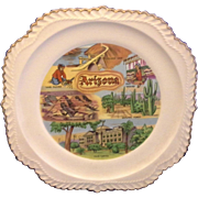 Arizona State Souvenir Plate Gadroon Rope Edge Harker Pottery