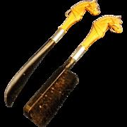 Horse Head Clothes Brush Shoe Horn Pair Black Tan Plastic