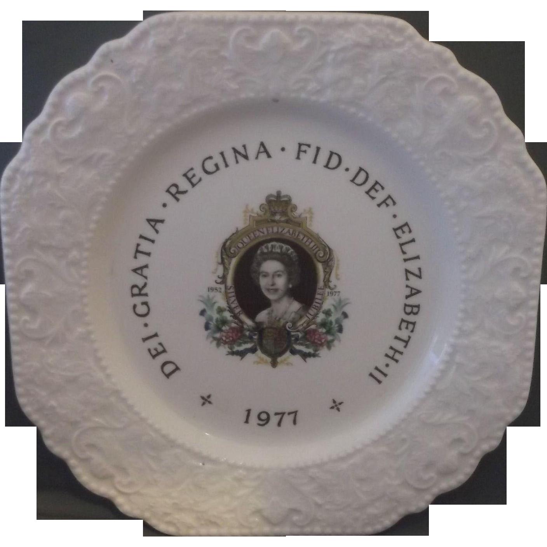 Queen Elizabeth II Silver Jubilee Souvenir Commemorative Plate Lord Nelson Pottery England