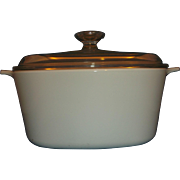 Corning Winter Frost White Centura Undecorated 3L Dutch Oven Casserole Pyrex Lid A-3-B