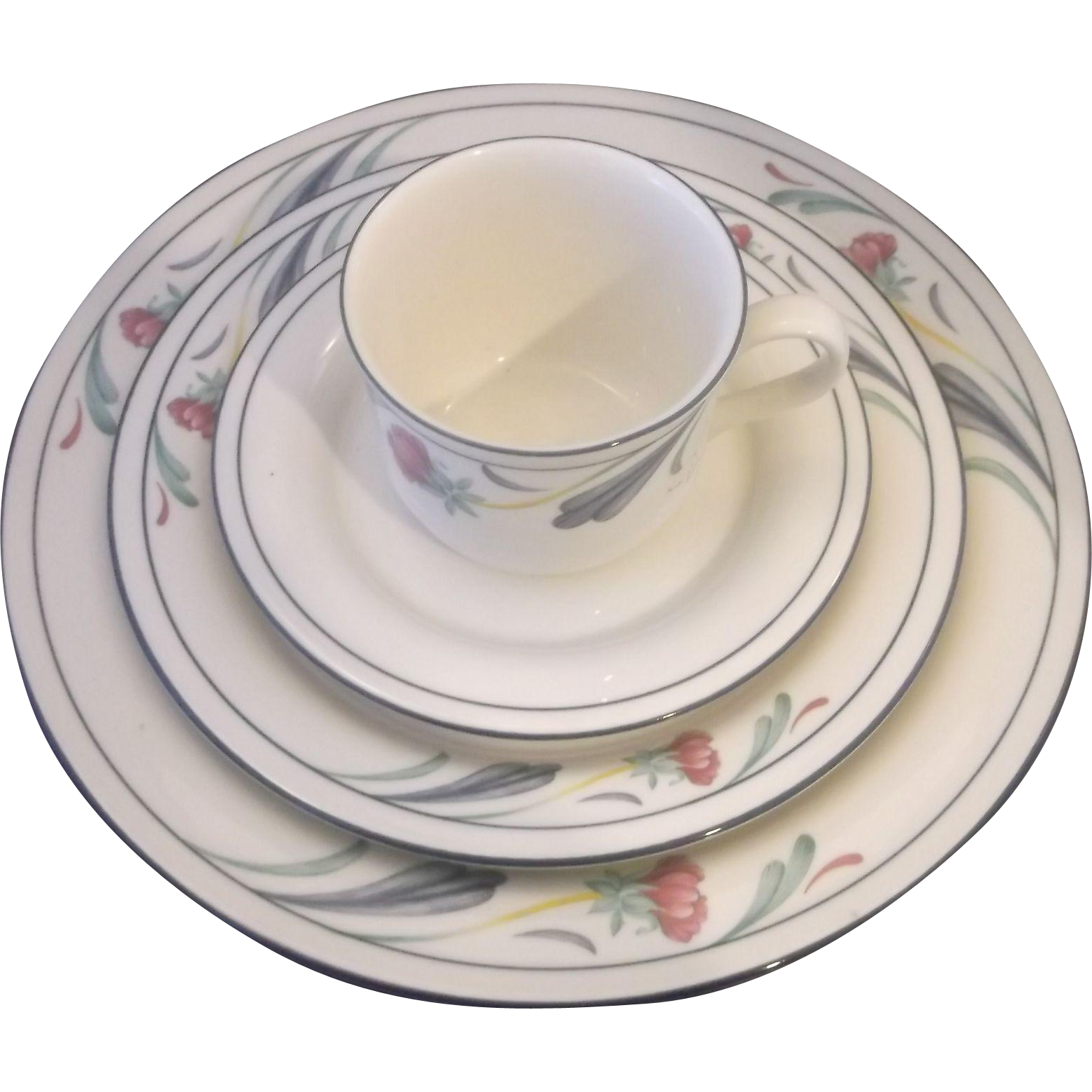 Lenox Poppies on Blue Chinastone Place Setting 4 Piece Dinner Salad Cup Saucer