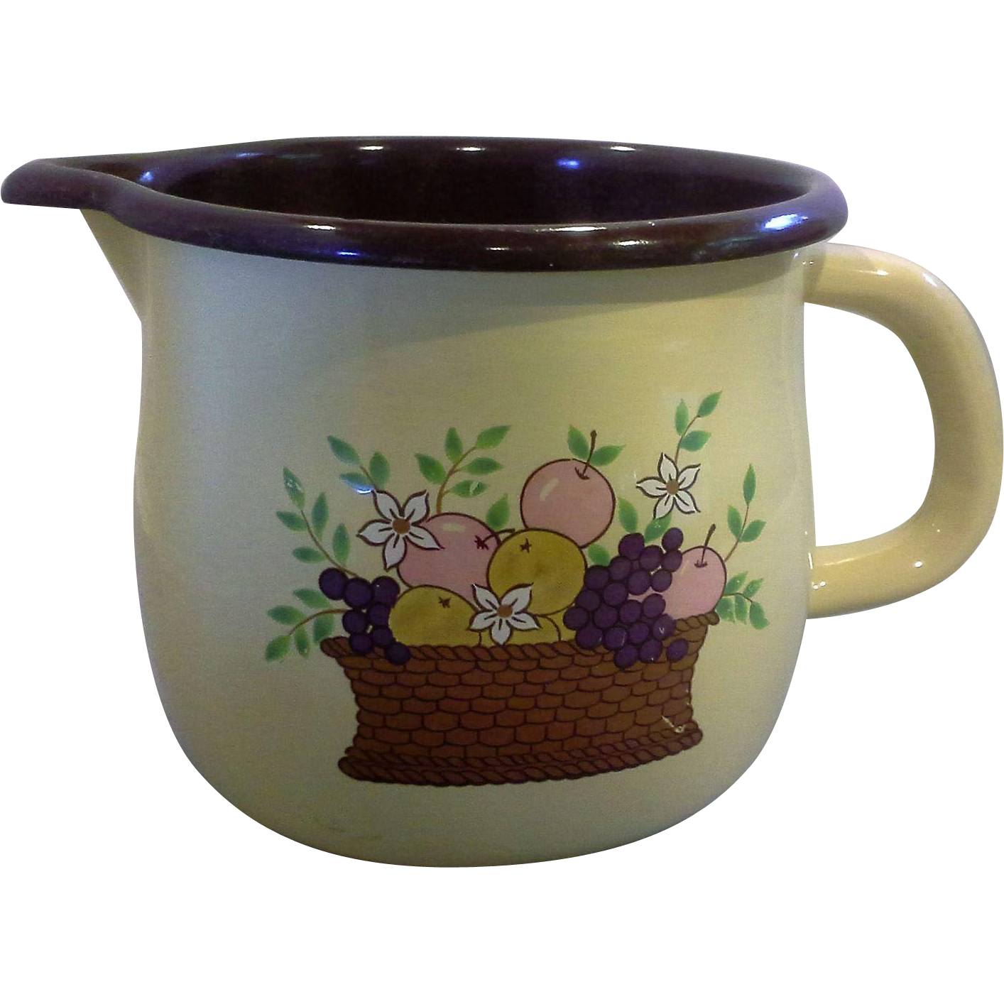 FTD Enamel Brown Fruit Basket Pitcher Made in Taiwan 1988