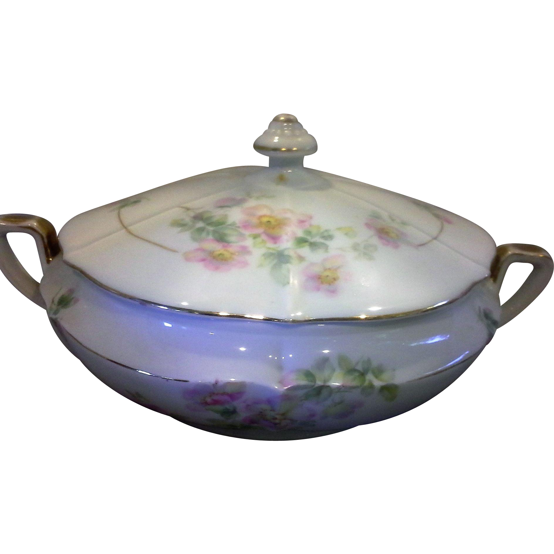 Antique Czecho-Slovakia Czechoslovakia Bohemia Porcelain Hand Painted Covered Vegetable Dish