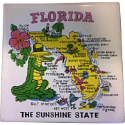 Florida Map Souvenir Tile Trivet Ceramic Made in Philippines