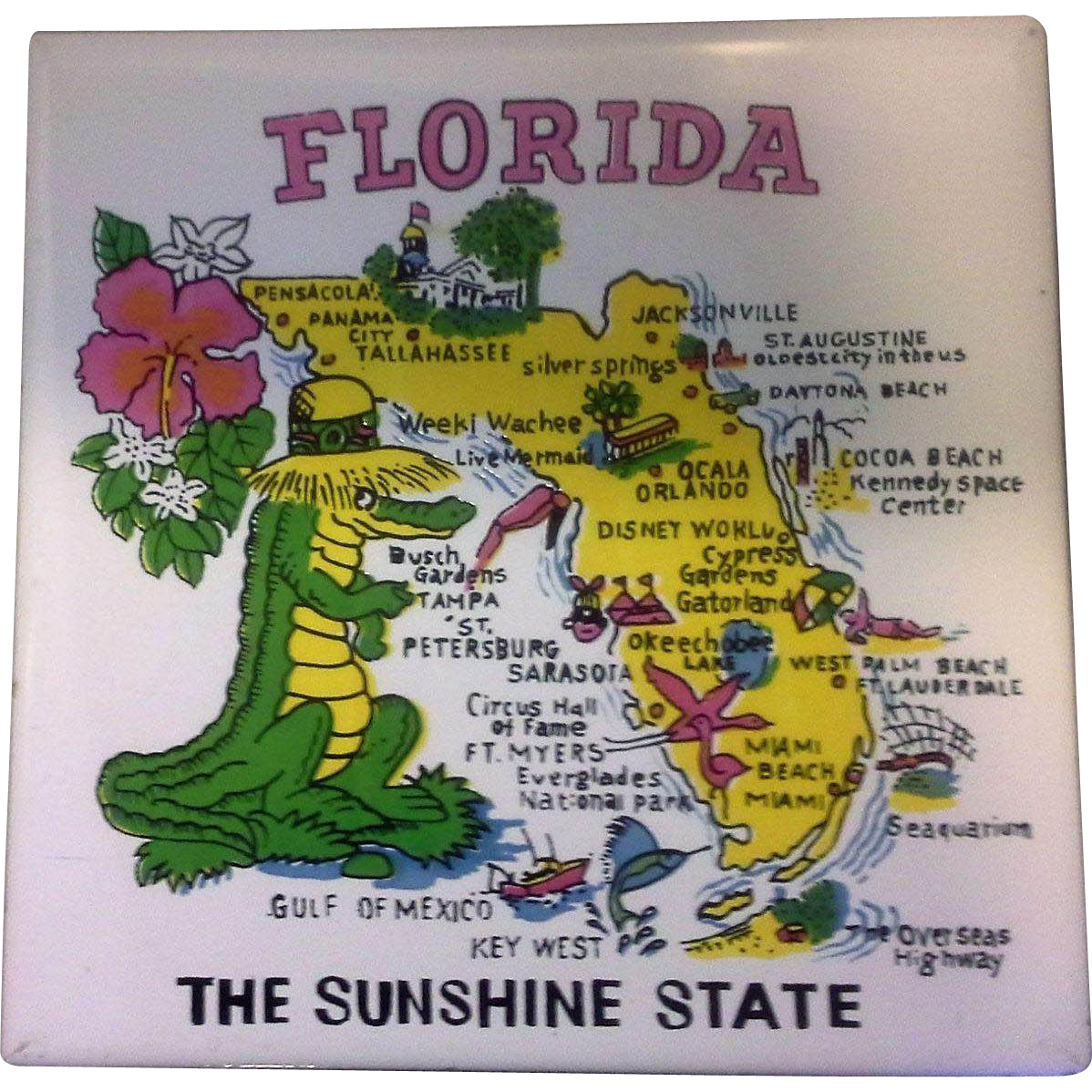 Florida map souvenir tile trivet ceramic made in philippines from florida map souvenir tile trivet ceramic made in philippines dailygadgetfo Images