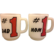 Fire King #1 Mom #1 Dad Milk Glass Mugs Pair Red Black - Red Tag Sale Item