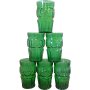 Wheaton Emerald Green Bullseye Circle Tumblers Set of 6