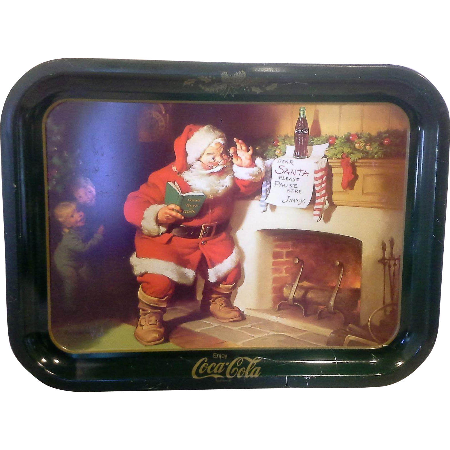 Coca-Cola Dear Santa  Tray Children Green Border 1980s