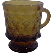 Fire-King Kimberly Mug Clear Brown Amber Glass