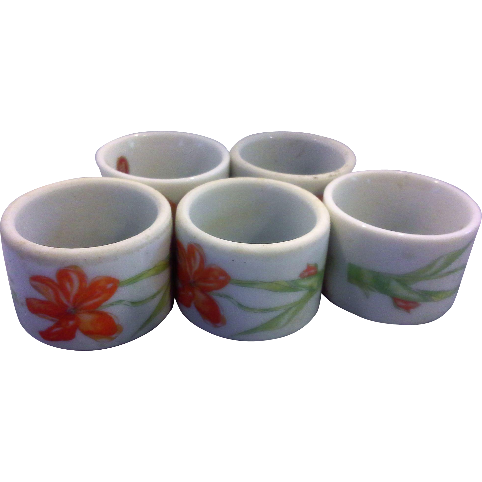 White Porcelain Napkin Rings Made in Japan Orange Flowers
