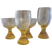 Lenox Buttercup Yellow Topaz Glass Ribbed Pedestal Foot Tumblers Goblets Set of 4 Mixed - Red Tag Sale Item