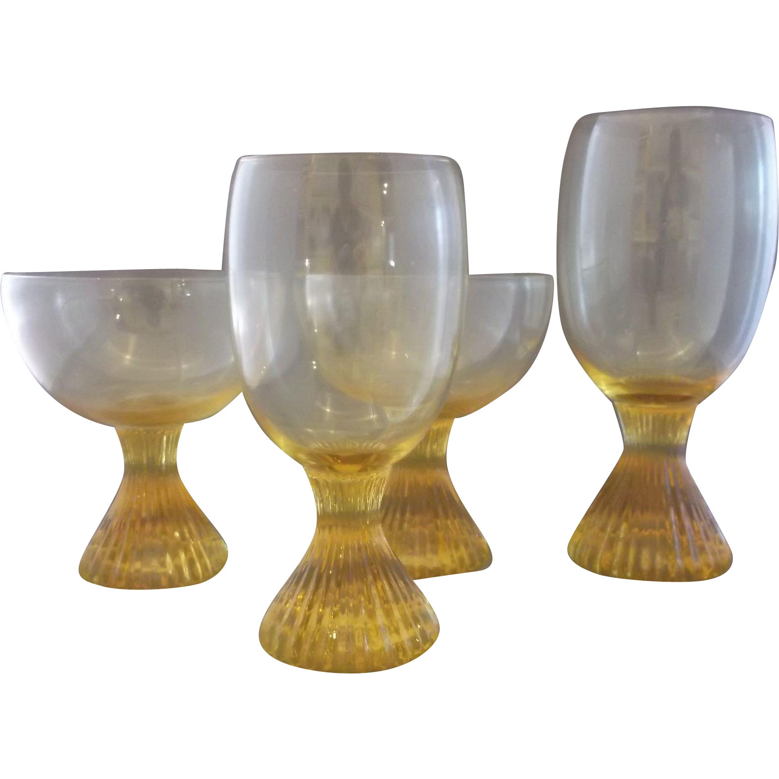 Lenox Buttercup Yellow Topaz Glass Ribbed Pedestal Foot Tumblers Goblets Set of 4 Mixed
