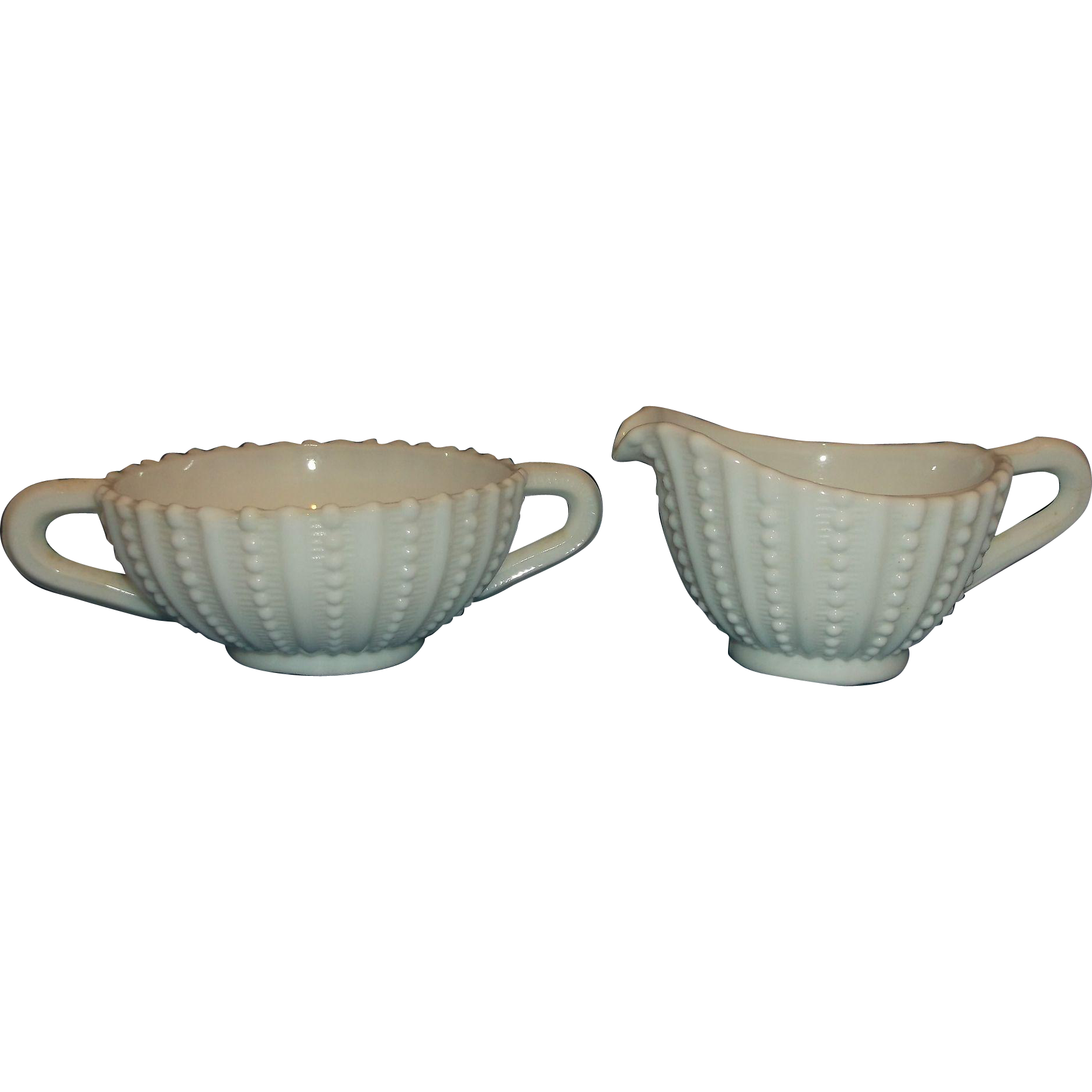 White Milk Glass Beaded Rib Cream Sugar Set