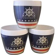 Thermo Serv Nautical Theme Cups Red White Blue Anchors Ship Wheel