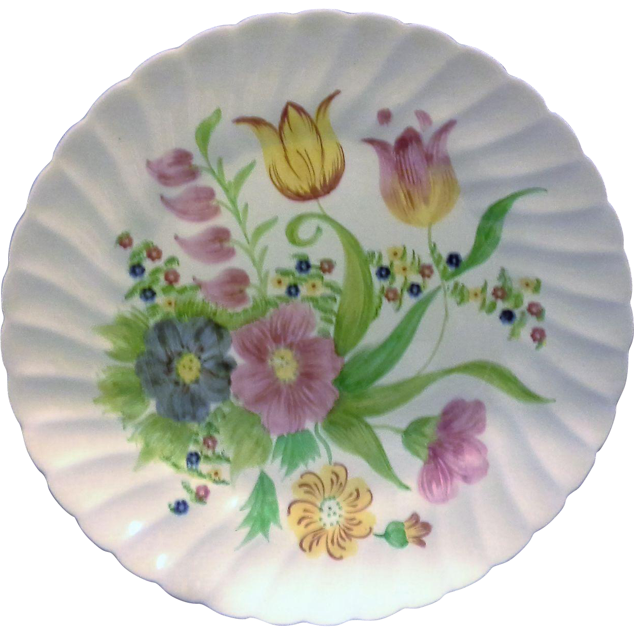 Adams England Royal Ivory Titian Ware Floral Hand Painted Swirl Rim Dinner Plate