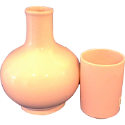 Japan Pink Glazed Pottery Tumble Up Carafe Tumbler Bedside Water Set