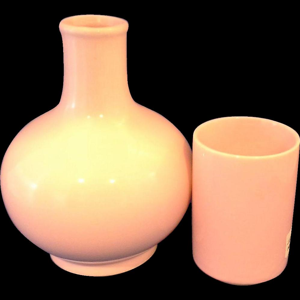 Japan Pink Glazed Pottery Tumble Up Carafe Tumbler Bedside