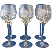 Toscany Hand Made Rumania Grey Cut Floral Wine Glasses Set of 6