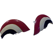 Red White Blue Enamel Swirl Wave Earrings Post Backs