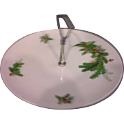 Seltmann Weiden Bavaria W Germany Holly Christmas Tidbit Porcelain Plate Center Handle
