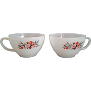 Primrose Tea Cups Fire-King Anchor Hocking Milk Glass Pair