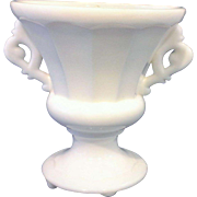 White Milk Glass Urn Vase Paneled Elaborate Handles Art Deco