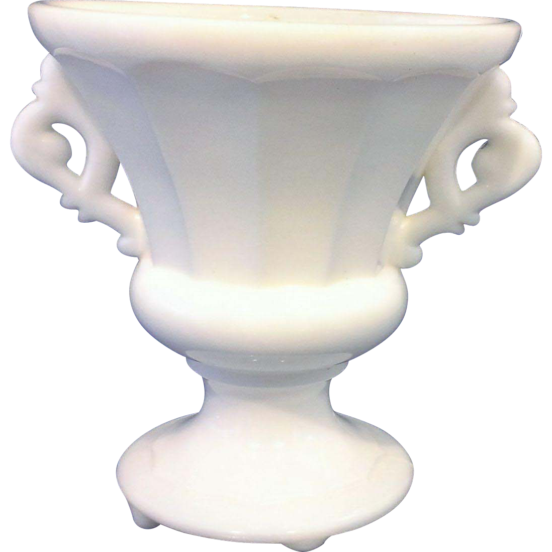 White Milk Glass Urn Vase Paneled Elaborate Handles Art