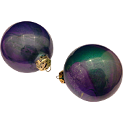Purple Green Oil Slick Painted Christmas Ornaments Pair