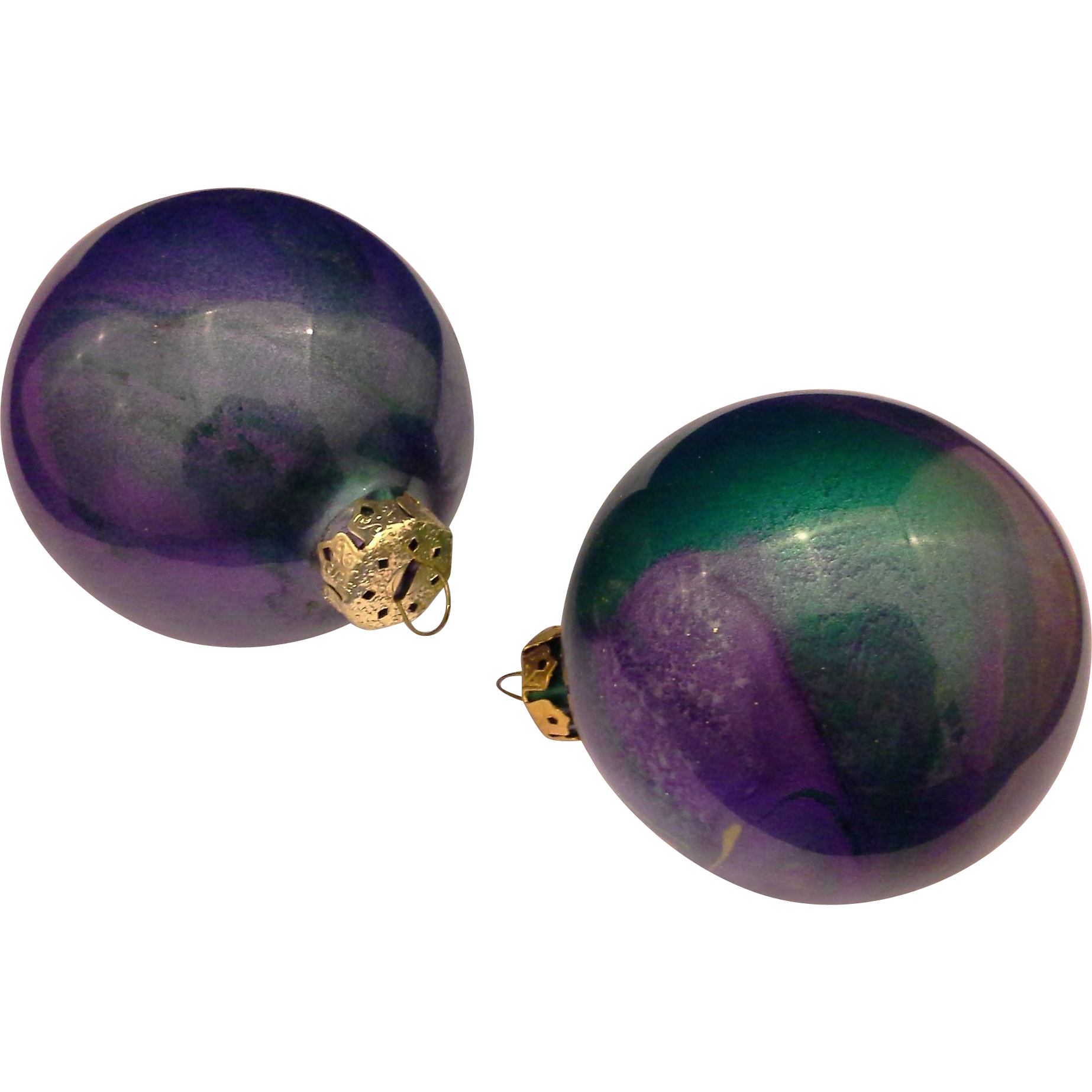 Lavender christmas ornaments - Purple Green Oil Slick Painted Christmas Ornaments Pair