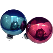 Blue Red Blown Glass Christmas Ornaments Pair Vintage Made in USA 2 1/2 IN
