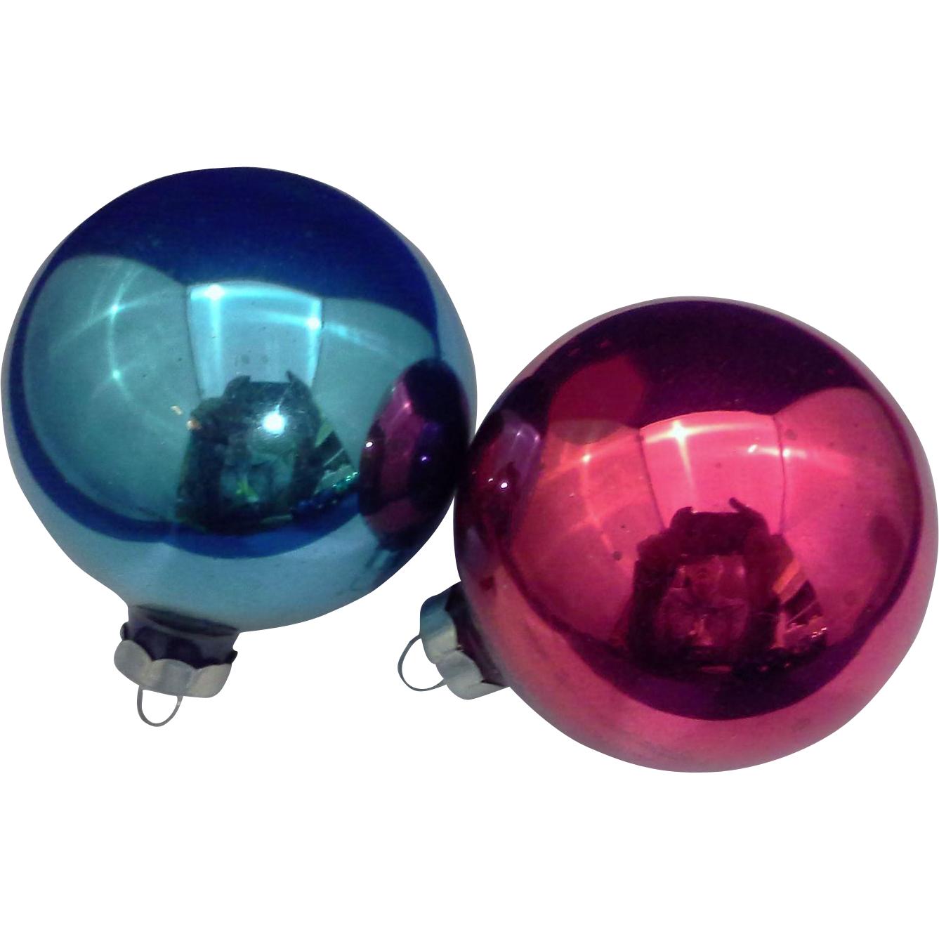 Blue red blown glass christmas ornaments pair vintage made for Glass christmas decorations