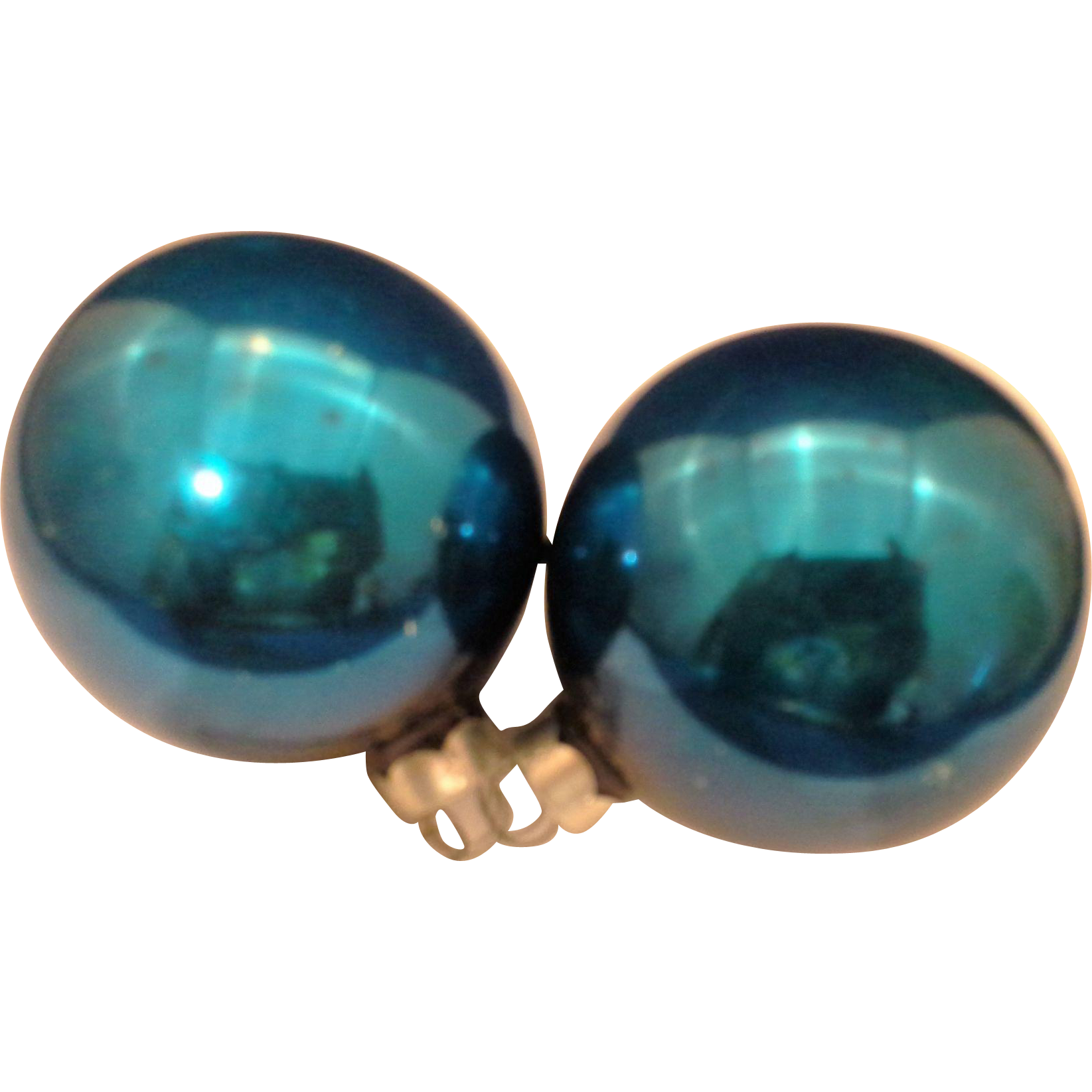 Dark Blue Vintage Blown Glass Ball Christmas Ornaments Pair Made In Usa